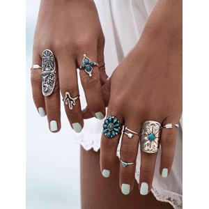 Artificial Gemstone Decoration Rings Set -