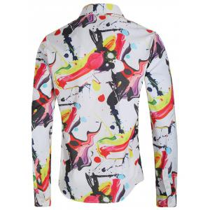 Oil Painting Print Long Sleeve Casual Shirt -