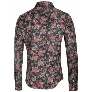 Vintage Floral Print Button Up Long Sleeve Shirt -