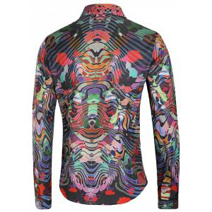 Colorful Curve Print Long Sleeve Casual Shirt -