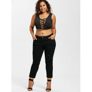 Plus Size Ripped Straight Leg Jeans -
