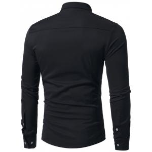 Pleated Solid Color Long Sleeve Shirt -