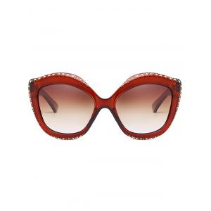 Rhinestone Inlay Rivets Catty Sunglasses -