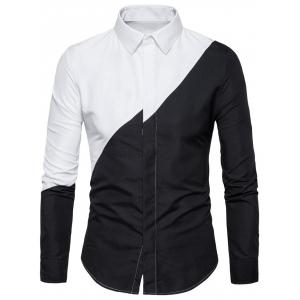 Contrast Color Hidden Button Shirt -