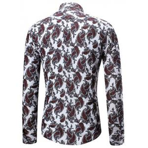 Allover Cell Print Three-button Cuff Shirt -