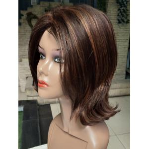 Short Side Bang Tail Upwards Colormix Straight Synthetic Wig -