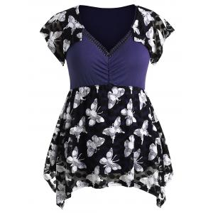 Plus Size Cap Sleeve Butterfly T-shirt -
