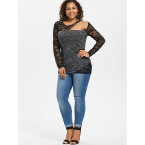 Plus Size Lace Panel Marled Fitted T-shirt -
