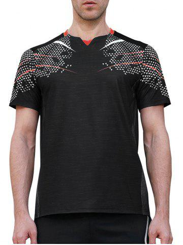 Affordable Netty Back Quick Dry Geometric Print  Sports T-shirt