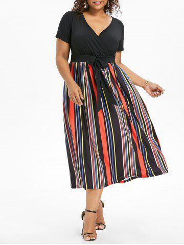 Shop Plus Size Tie Waist Striped Dress
