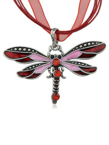 Artificial Sapphire Dragonfly Rope Necklace - Red