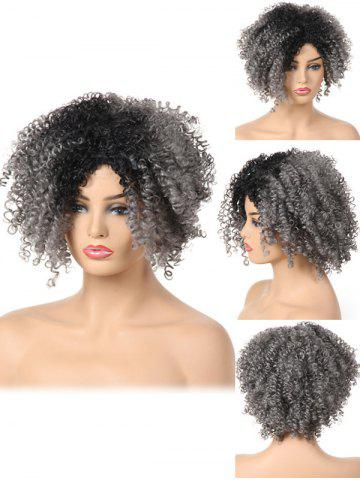 Cheap Short Side Bang Fluffy Colormix Curly Synthetic Wig