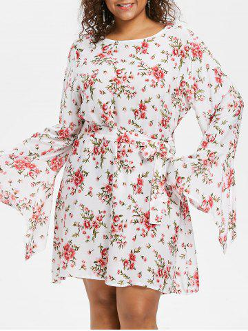 Discount Plus Size Flower Bell Sleeve Dress