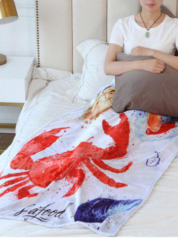 Sale Crab Print Flannel Soft Bed Blanket