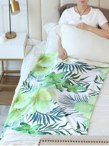 Chic Leaf Flower Print Flannel Soft Bed Blanket