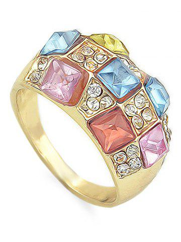 Fancy Rhinestone Geometric Shape Artificial Crystal Ring