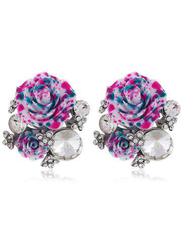 Pair of Rhinestone Floral Decorative Stud Earrings - Purple