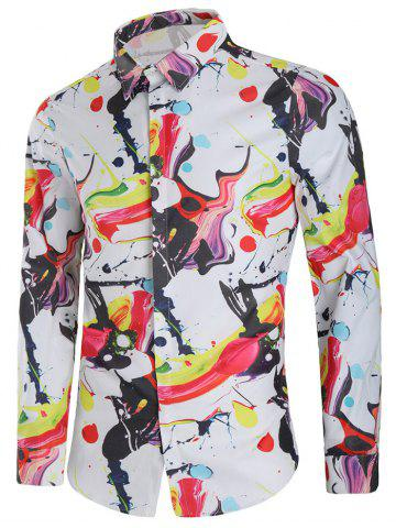 Outfit Oil Painting Print Long Sleeve Casual Shirt