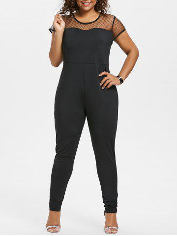 Affordable Plus Size Mesh Yoke Jumpsuit