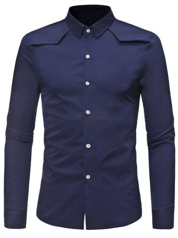 Unique Solid Color Long Sleeve Casual Shirt