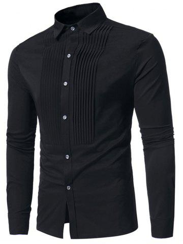 Affordable Pleated Solid Color Long Sleeve Shirt