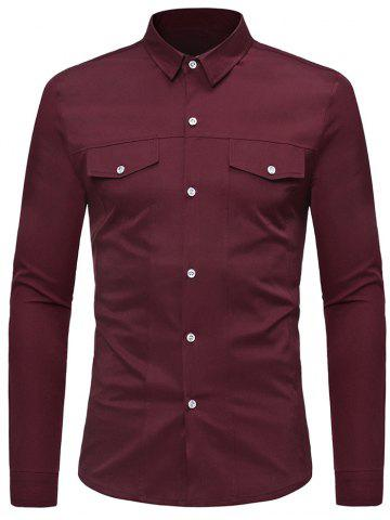 Discount Solid Color Faux Pockets Button Up Shirt