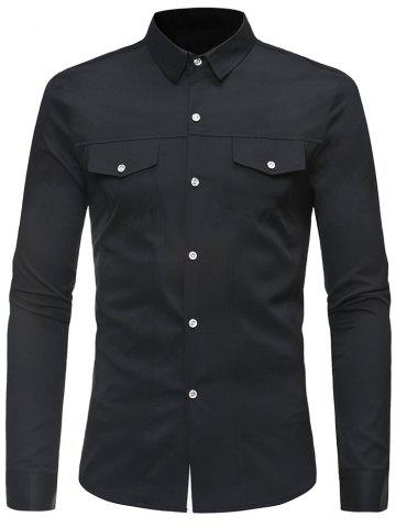 Shop Solid Color Faux Pockets Button Up Shirt