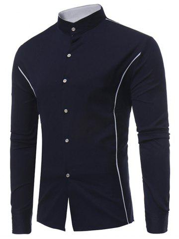 Store Casual Contrast Color Stand Collar Shirt