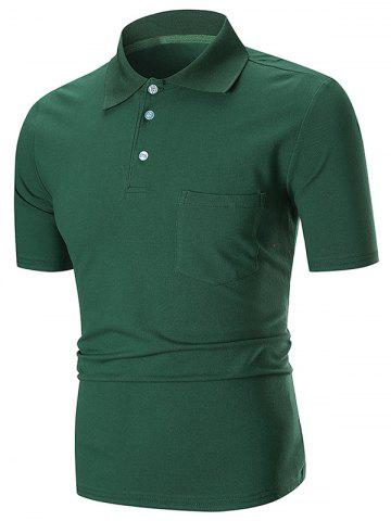 New Solid Color Pocket Short Sleeve Polo Shirt