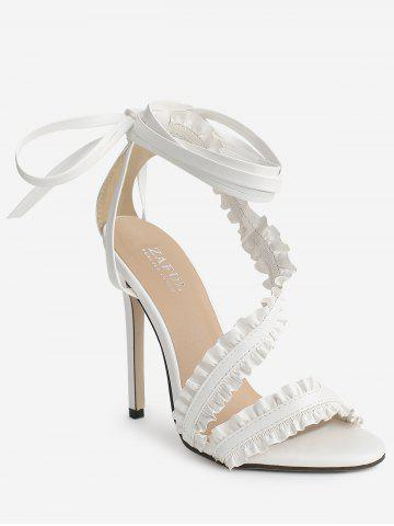 Stiletto Heel Lace Up Ruffles Ankle Strap Sandals