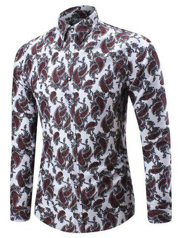 Outfit Allover Cell Print Three-button Cuff Shirt