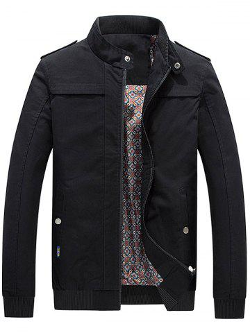 Cheap Zip Up Epaulet Design Stand Collar Jacket