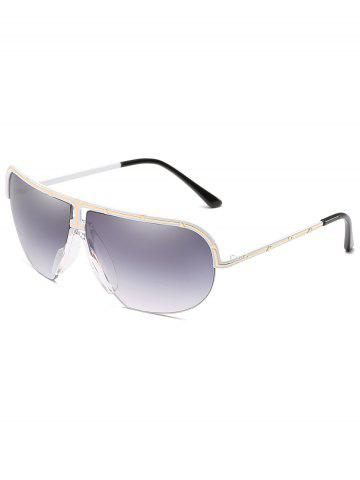 Store Unique Metal Half Frame Shield Sunglasses