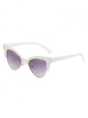 Affordable Rivets Inlaid Semi Rimless Catty Sunglasses