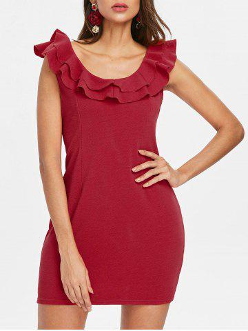 Fancy Flounce Trim Back Cut Out Bodycon Dress