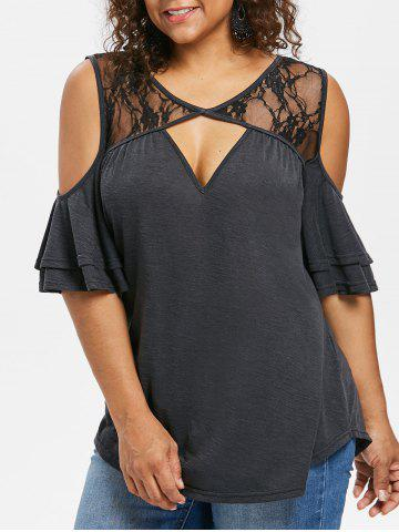 Chic Plus Size Bell Sleeve Keyhole Neck T-shirt