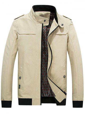 Outfits Zip Up Epaulet Design Stand Collar Jacket