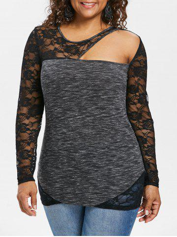Plus Size Lace Panel Marled Fitted T-shirt - Black - 1x