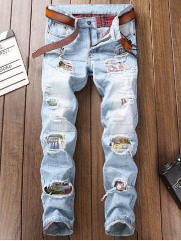 Ripped Hole Patch Straight Jeans