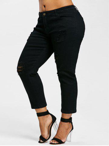 Plus Size Ripped Straight Leg Jeans