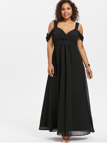 Open Shoulder Plus Size Empire Waist Maxi Dress