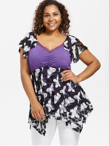 Plus Size Cap Sleeve Butterfly T-shirt