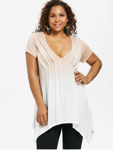 Plus Size Pintuck Gradient Color Plunging Neck T-shirt