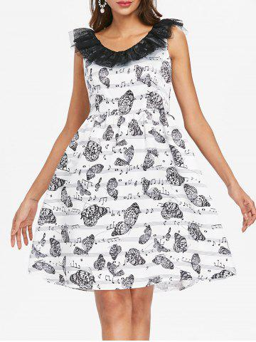 Lace Butterflies Musical Note Flare Dress