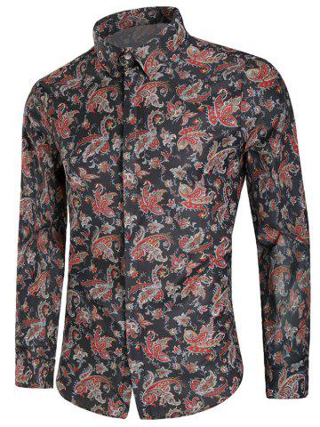 Vintage Floral Print Button Up Long Sleeve Shirt