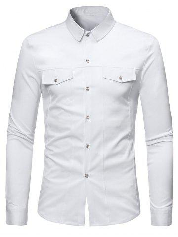 Solid Color Faux Pockets Button Up Shirt