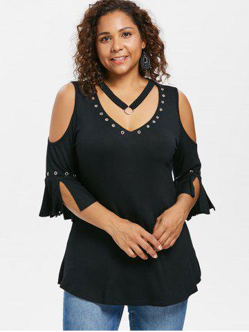 Plus Size Grommets Detail V Neck T-shirt