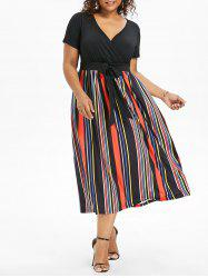 Plus Size Tie Waist Striped Dress -