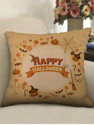 Happy Halloween Pumpkin Bat Print Pillow Case -
