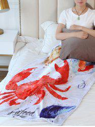 Crab Print Flannel Soft Bed Blanket -